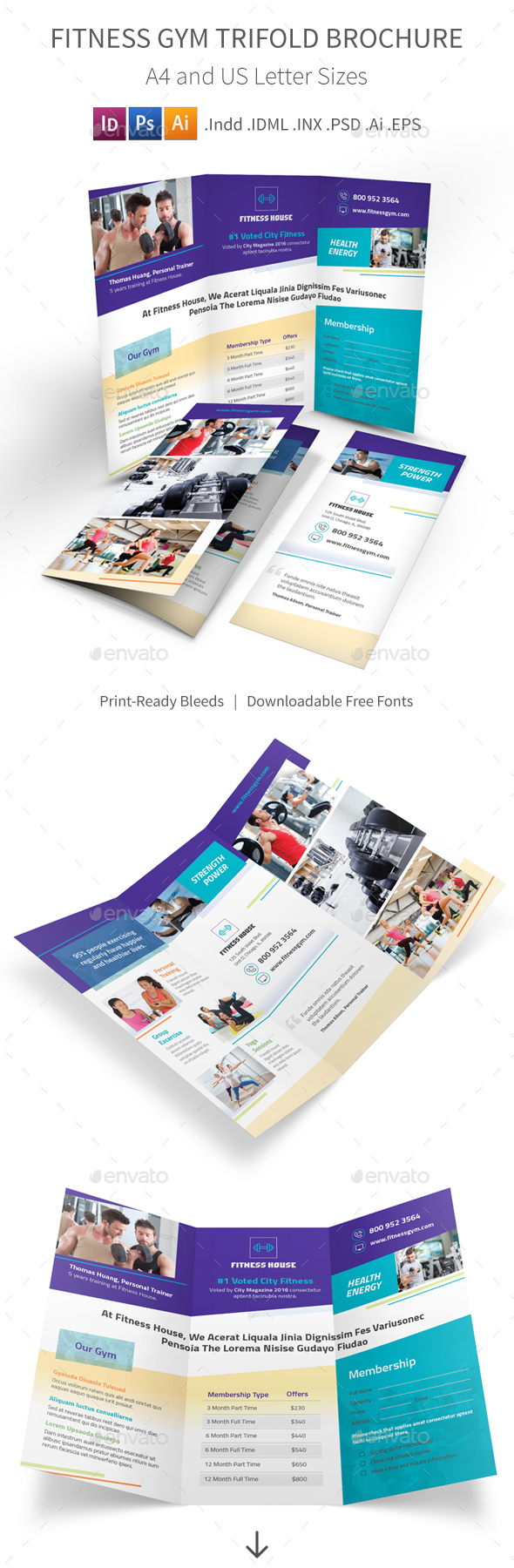 Fitness Gym Trifold Brochure 4