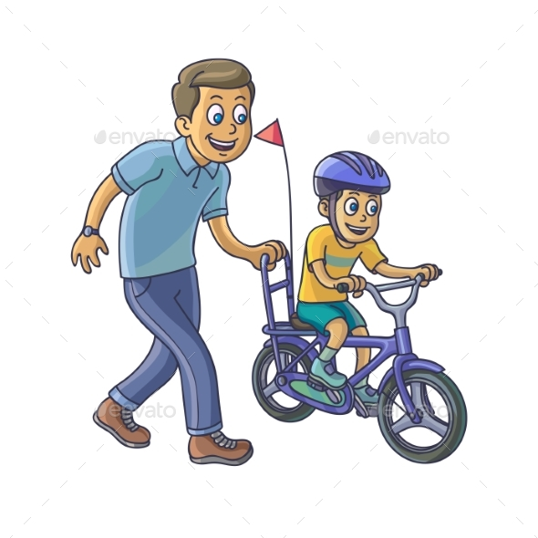 Father Teaches his Little Son to Ride a Bicycle