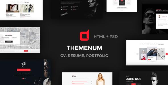 Themenum - Personal Vcard Resume & Cv HTML Template