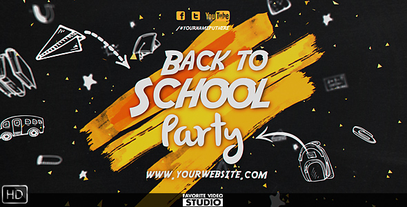 Back 2 School Event 筆刷開場動畫-Videohive中文最全的AE After Effects素材分享平台