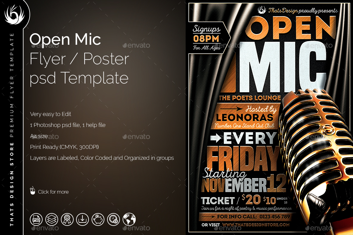 open mic flyer template by lou606