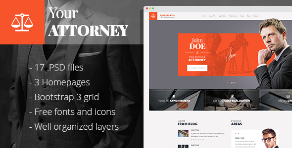 Attorneys - law firm/private lawyer PSD template