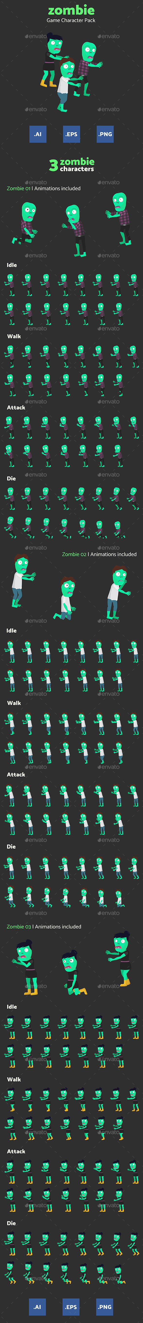Zombie Game Character Pack (Sprites)