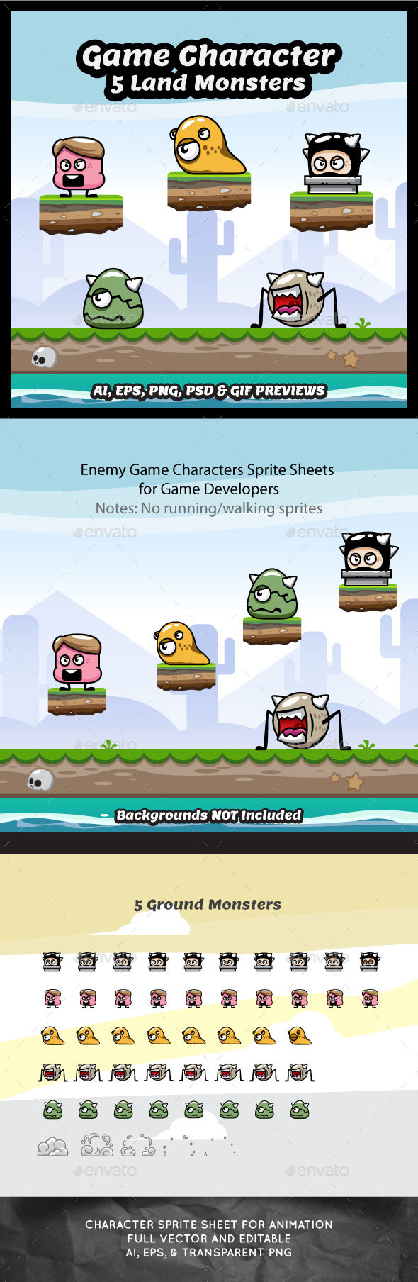Enemy Game Character - 5 Land Monsters (Sprites)