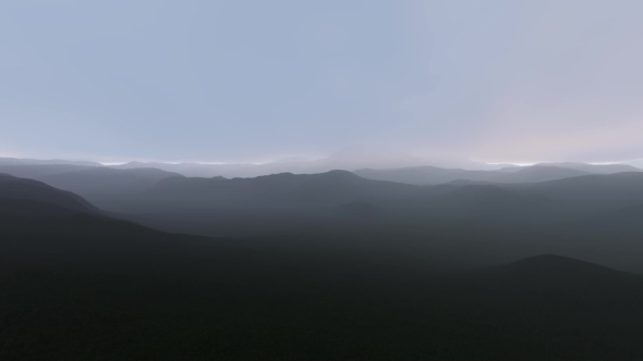 VideoHive Flying Over The Hills In Fog 17426701