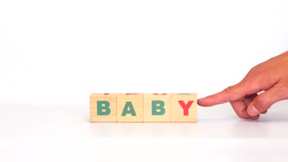 Download Word Baby Comes Out of Letters on Wooden Cubes nulled download
