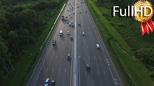 Download Aerial View of Traffic on a Motorway Ring Road nulled download