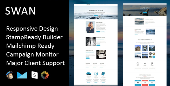 Swan - Multipurpose Responsive Email Template + Stampready Builder