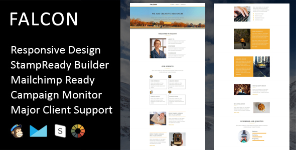 Falcon - Multipurpose Responsive Email Template + Stampready Builder