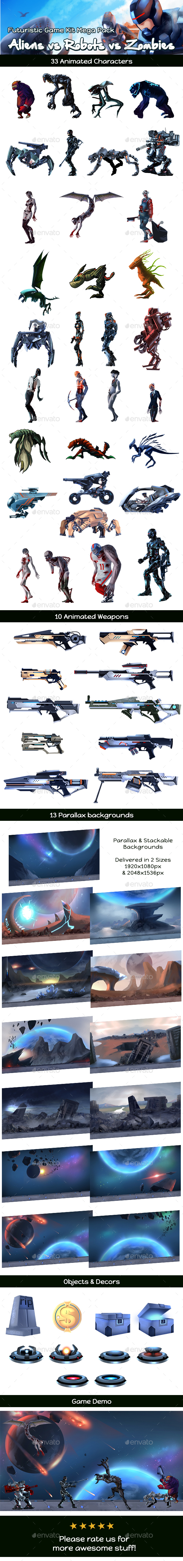 Aliens vs Robots vs Zombies Game Assets Mega Pack (Game Kits)