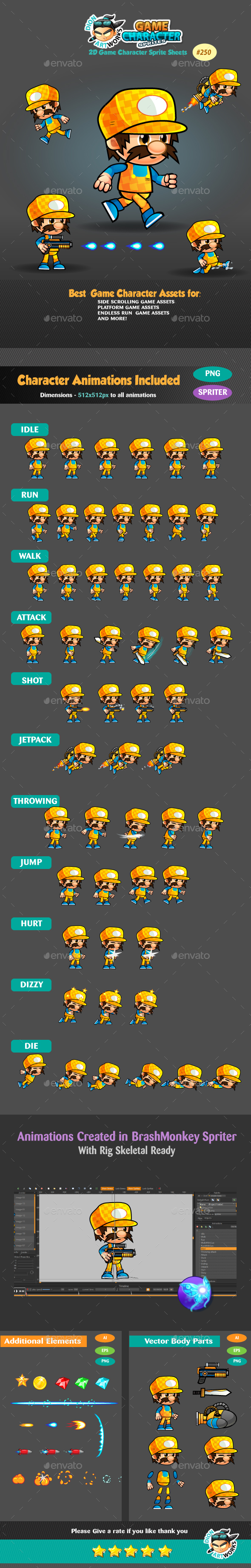 2D Game Character Sprites 250 (Sprites)