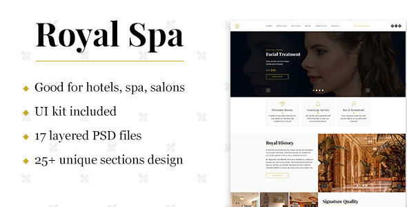Royal Spa — Luxury Hotel & Spa PSD Template