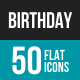 Birthday Flat Multicolor Icons