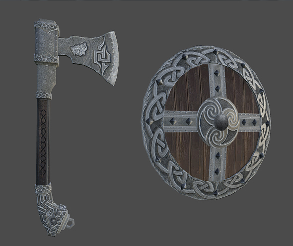 Axe_shield - 3DOcean Item for Sale