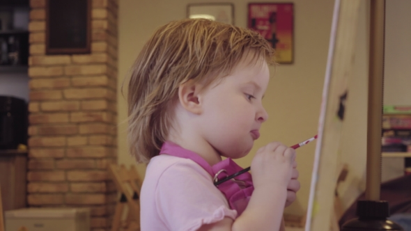 Download The Little Girl Paints On a Canvas, Leaving And Waiting For Approval. nulled download