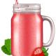 Strawberry Juice / Smoothie in a Mason Jar Mug.
