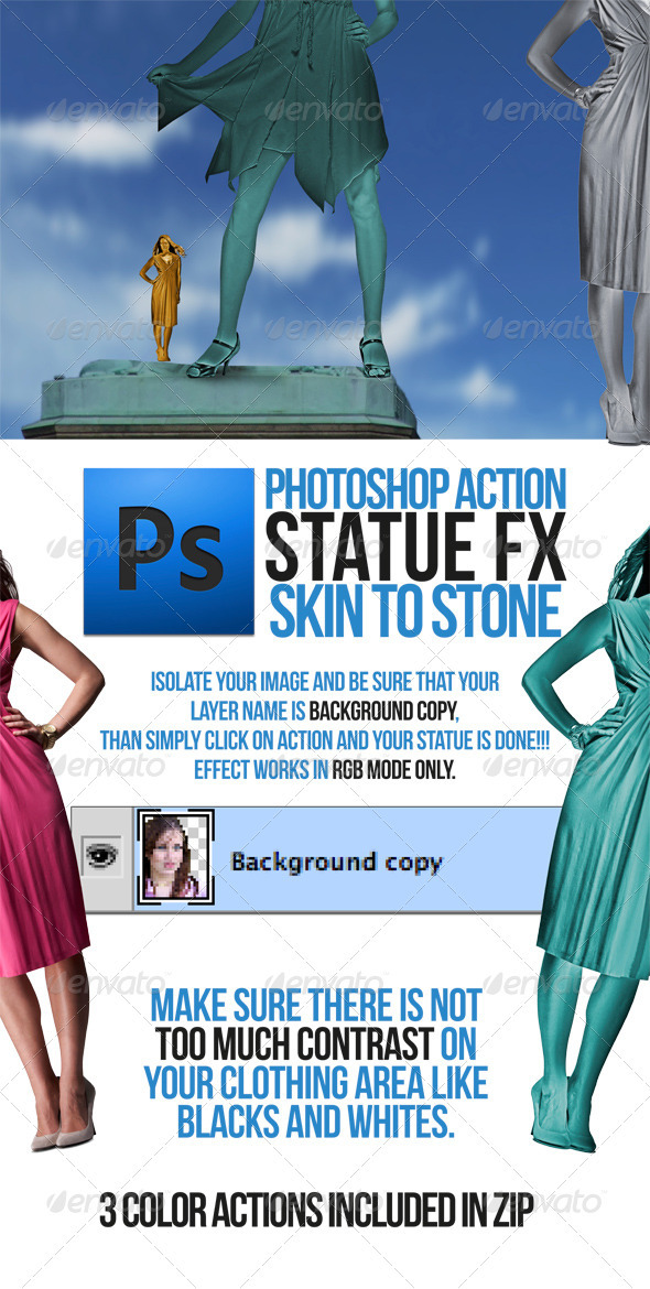 GraphicRiver Statue Portrait Action 1734844