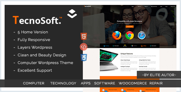 Фото Платный шаблон Wordpress  Computer Repair, Technology WordPress theme  | Tecnosoft — 01 preview.  large preview