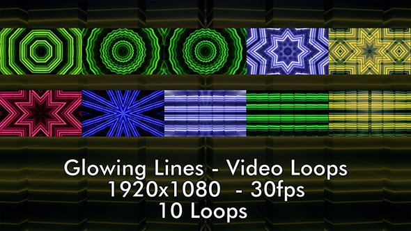 VideoHive Glowing Lines Video Loops 17438352