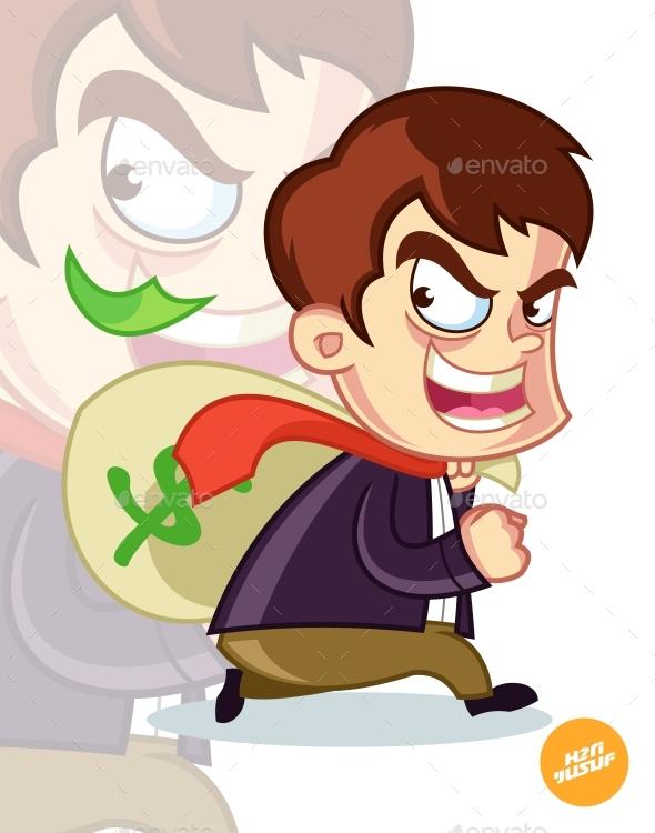Corruptor Stealing Money Cartoon Vector Illustration