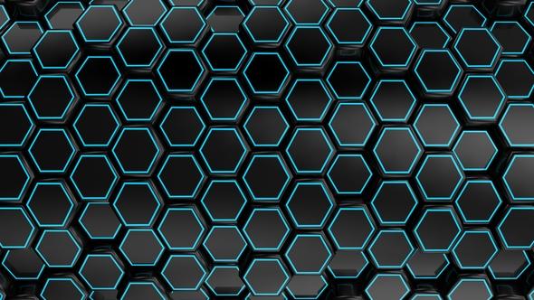 VideoHive Animated Black Honeycombs 17444030