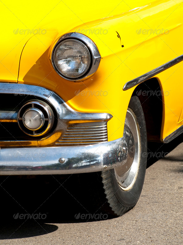 Vintage Yellow Cab - Stock Photo - Images