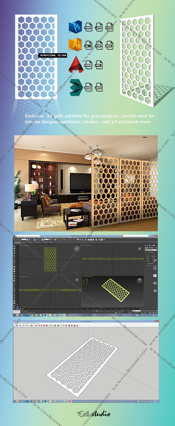 honeycomb (3d screen)PD_G04 - 3DOcean Item for Sale