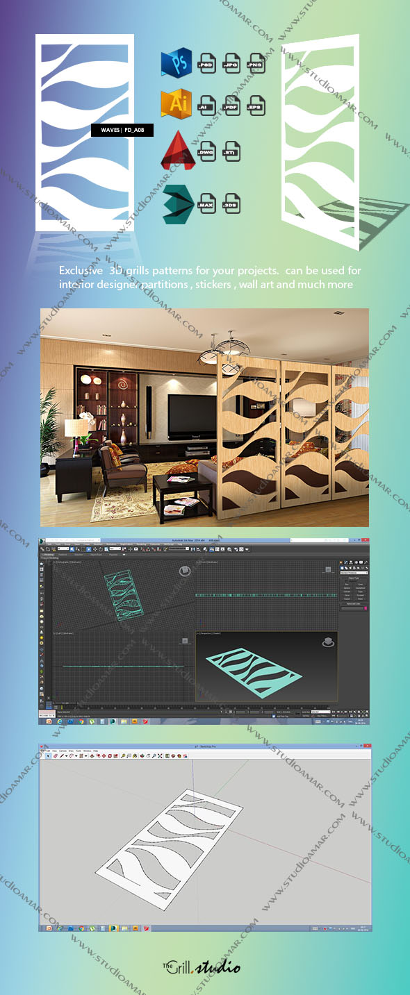 Waves 3d screen Pd_A08 - 3DOcean Item for Sale