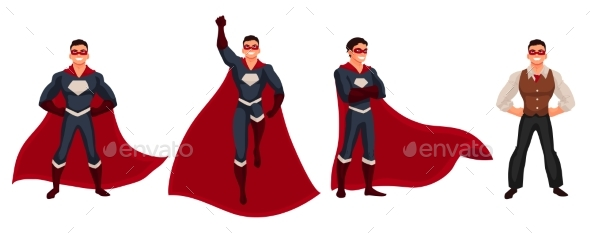 Superhero Man in Cape and Usual Clothes