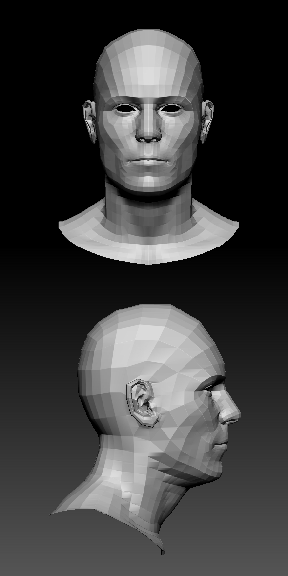 LowPoly Male head