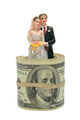 Married Couple Figurine inside Dollar Bill Roll