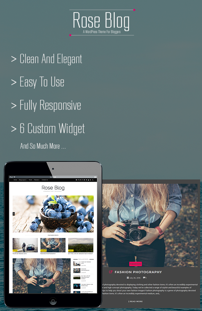 Rose Blog - A Responsive WordPress Blog Theme