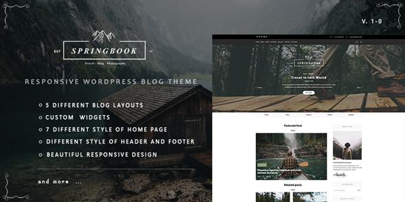 Springbook - Responsive WordPress Blog Travel Photography Theme