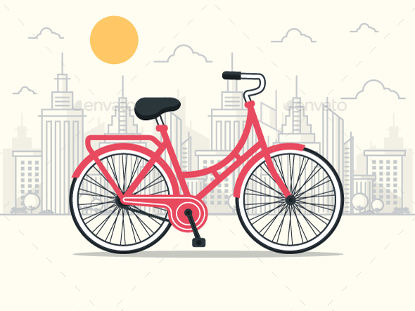 Red Bicycle in the City