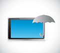 umbrella tablet protection sign concept