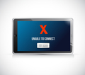 tablet unable to connect message sign concept