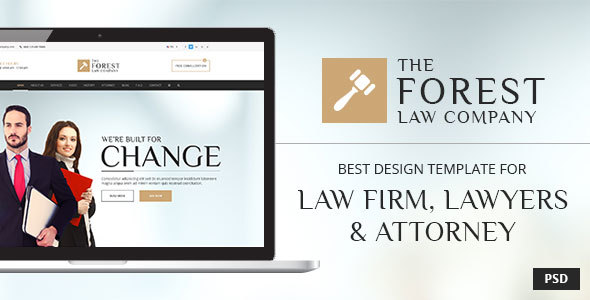 The Forest Law - PSD Template for Law Firm, Lawyer and Attorney