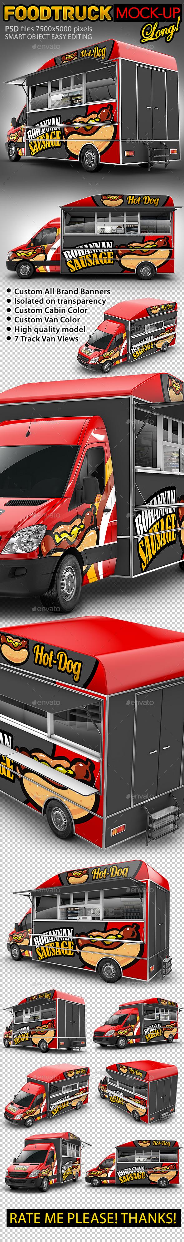 Food Truck Hod-Dog Mock-Up. Van eatery mockup