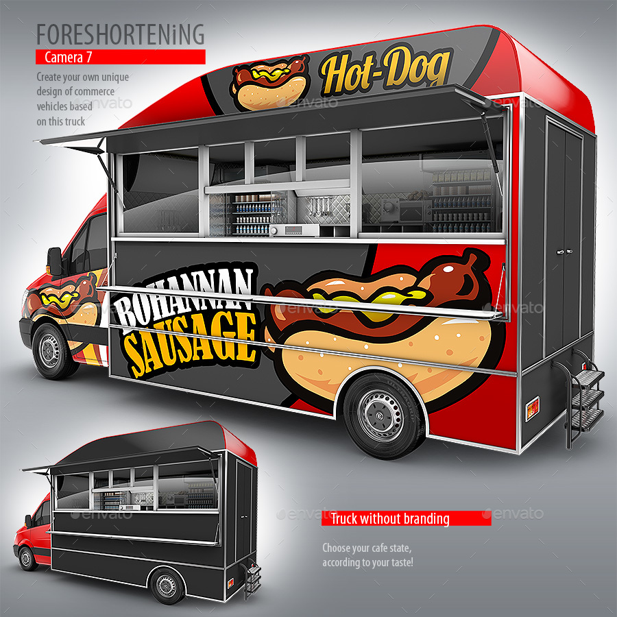 Food truck hod dog mock up van eatery mockup by for Design your food truck
