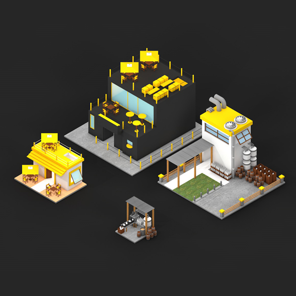 LOW POLY FACTORY AND BAR KIT - 3DOcean Item for Sale