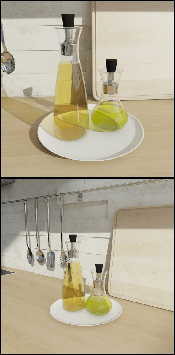 Olive oil bottle set - 3DOcean Item for Sale