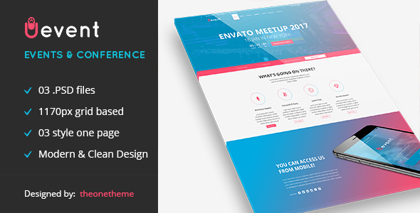 uevent one page event management psd template by theonetheme themeforest. Black Bedroom Furniture Sets. Home Design Ideas