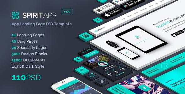 SpiritApp - App Landing Page PSD Template