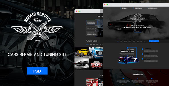 Mechanic - Car Repair, Tuning, Routine Maintenance PSD Template