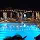 Pool Illuminated at Night