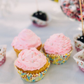 Various Dessert Sweet Cupcakes, Candy, confection On Table. Cand