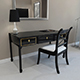 Black lacquer desk and chair