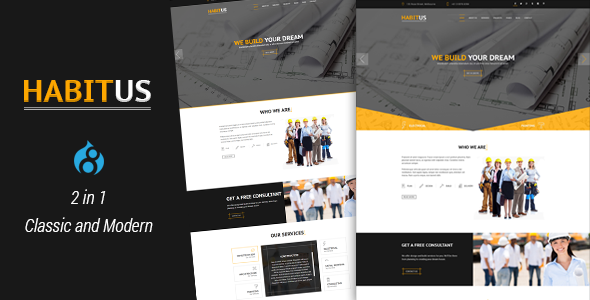 Habitus - 2 in 1 Construction Drupal 8 Responsive Theme