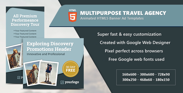 Download Multipurpose Travel Agency Banners - HTML5 Animated GWD nulled download