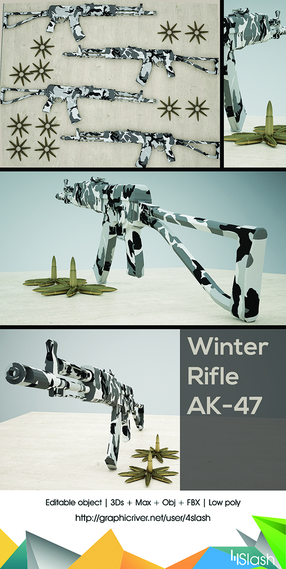 AK 47 Machine Gun - 3DOcean Item for Sale